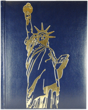 Image of Mary and decorations foil-stamped on a book cover