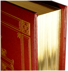 Closeup of a book edge-gilt in gold foil